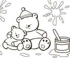 [Translate to Singapore (English):] NUK colouring page with two funny bears
