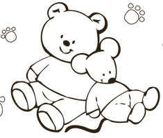 [Translate to Singapore (English):] NUK colouring page with teddy and mouse